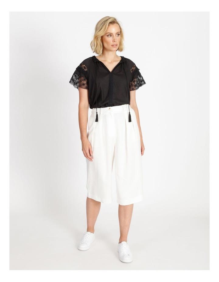 Lace Sleeve Tassel Tie Blouse Black image 2
