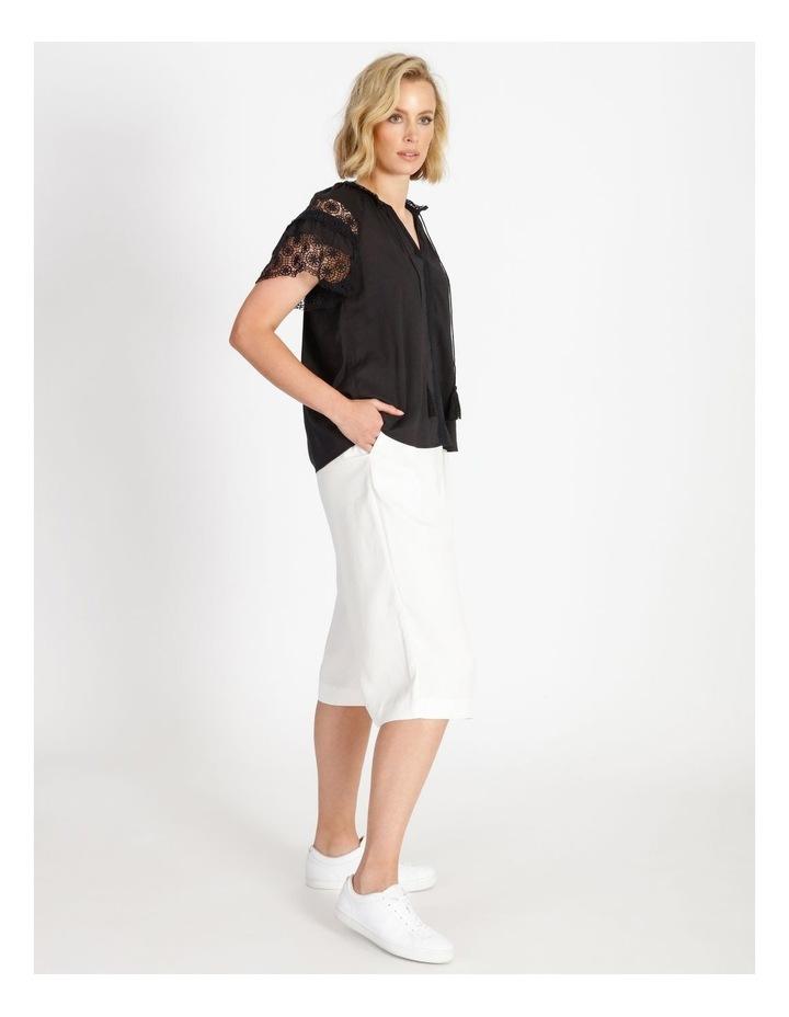 Lace Sleeve Tassel Tie Blouse Black image 3
