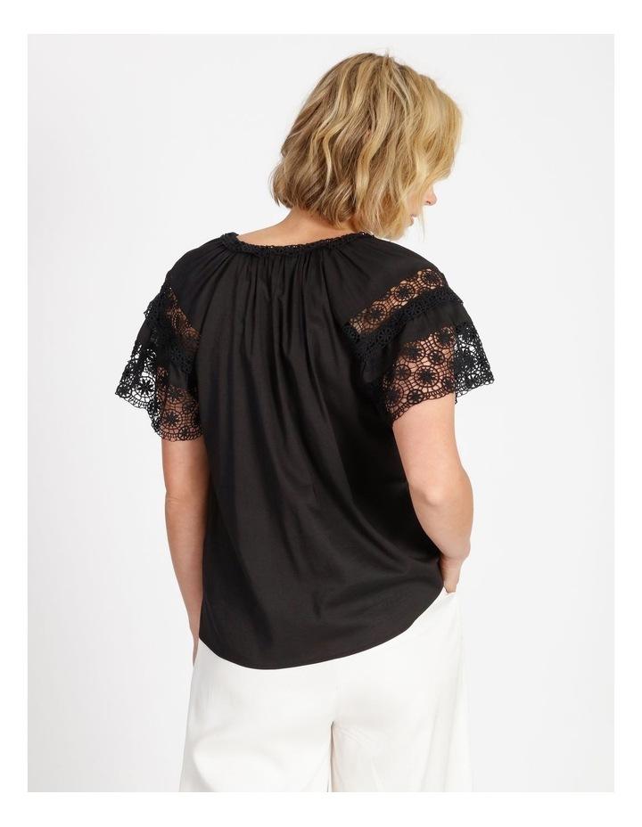 Lace Sleeve Tassel Tie Blouse Black image 4