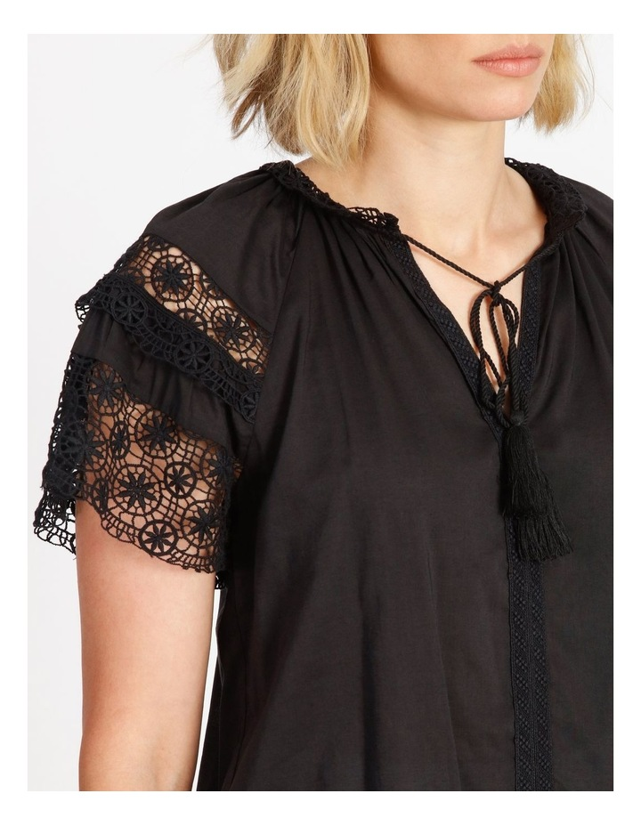 Lace Sleeve Tassel Tie Blouse Black image 5