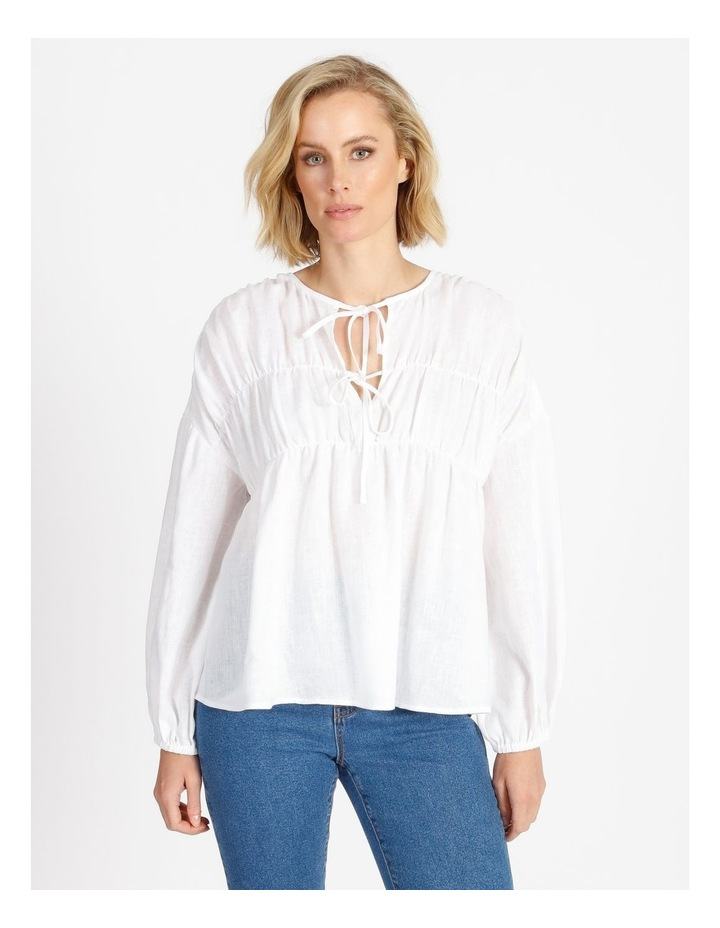 Tie Front Linen Long Sleeve Blouse White image 1