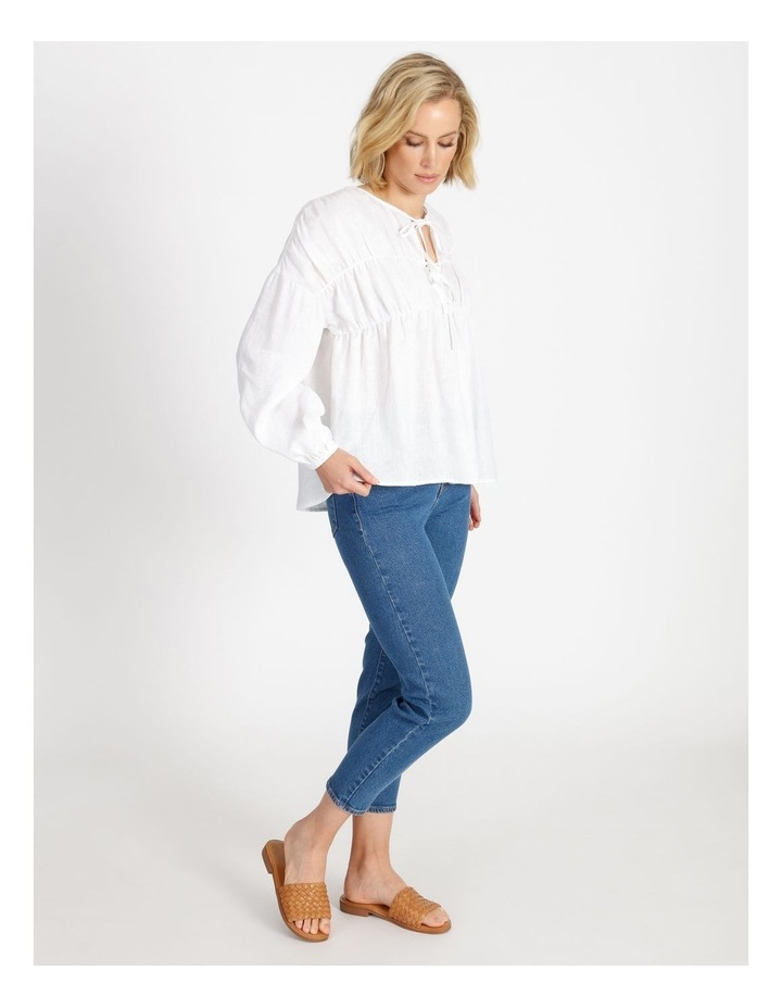 Tie Front Linen Long Sleeve Blouse White image 2