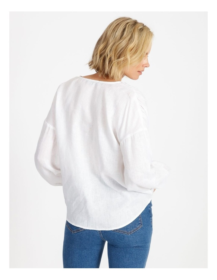 Tie Front Linen Long Sleeve Blouse White image 3