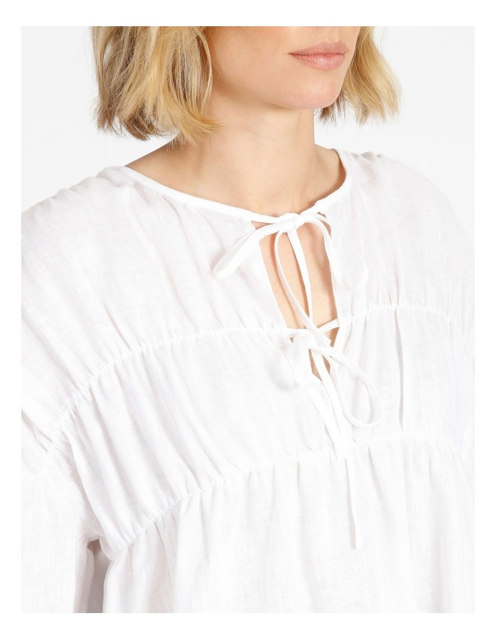 Tie Front Linen Long Sleeve Blouse White image 5