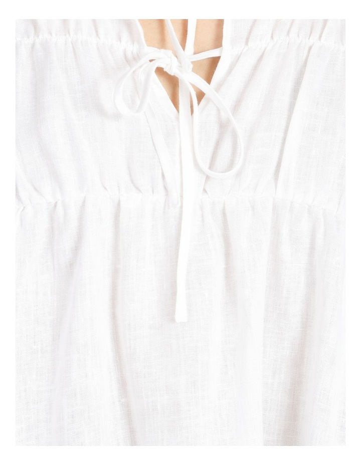 Tie Front Linen Long Sleeve Blouse White image 6