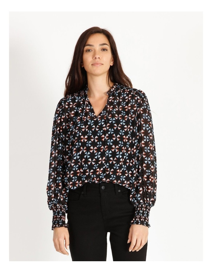Printed Blouse With Shirring Detail image 1