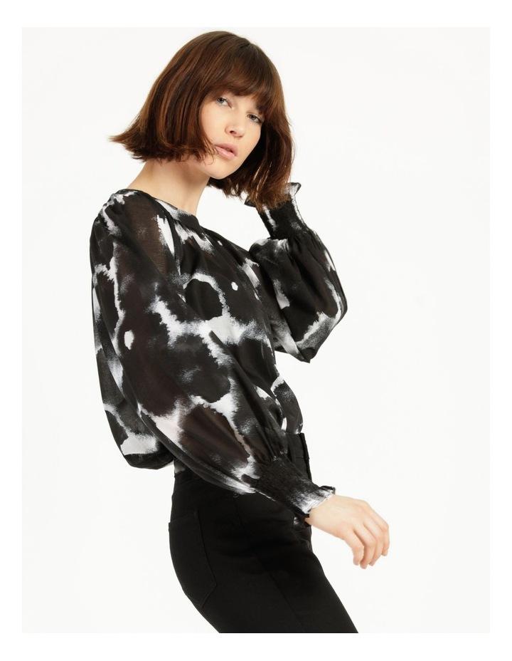 Long Sleeve Smocking Blouse Black/ White image 1