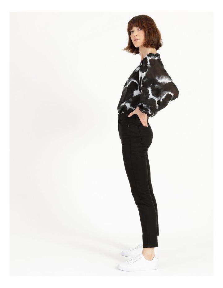Long Sleeve Smocking Blouse Black/ White image 3