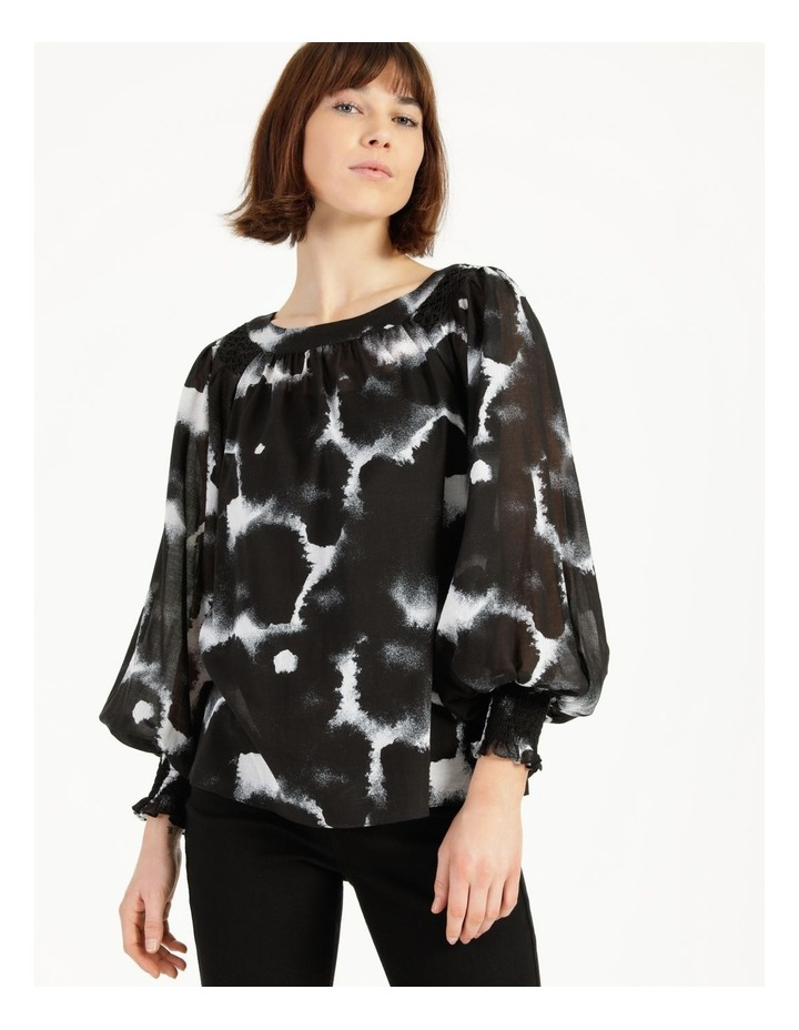Long Sleeve Smocking Blouse Black/ White image 4