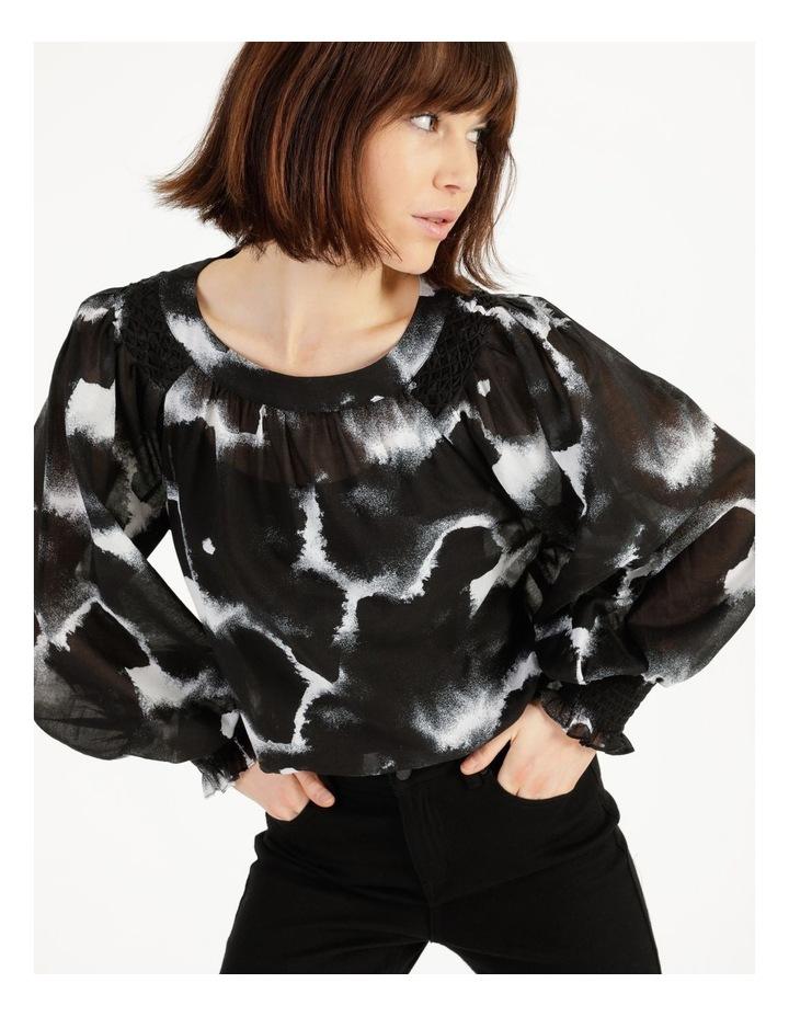 Long Sleeve Smocking Blouse Black/ White image 5