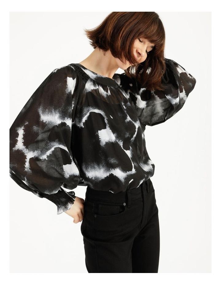 Long Sleeve Smocking Blouse Black/ White image 7