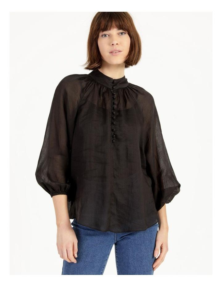 High Neck Button Blouse Black image 2