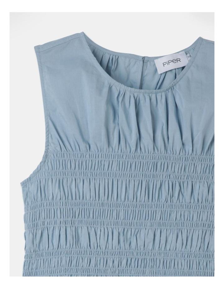 Sleeveless Shirred Bodice Top Faded Denim image 2
