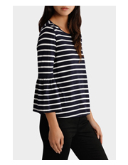 Piper - Tee Crew Neck 3/4 Sleeve with Ruffles