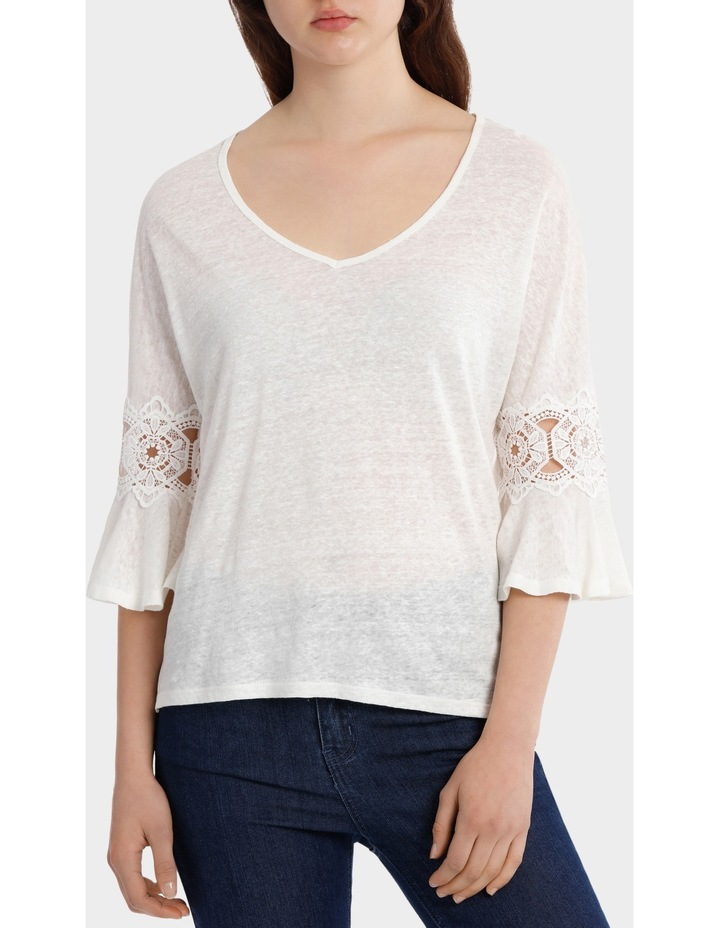 Linen V-Neck Tee with Lace image 1
