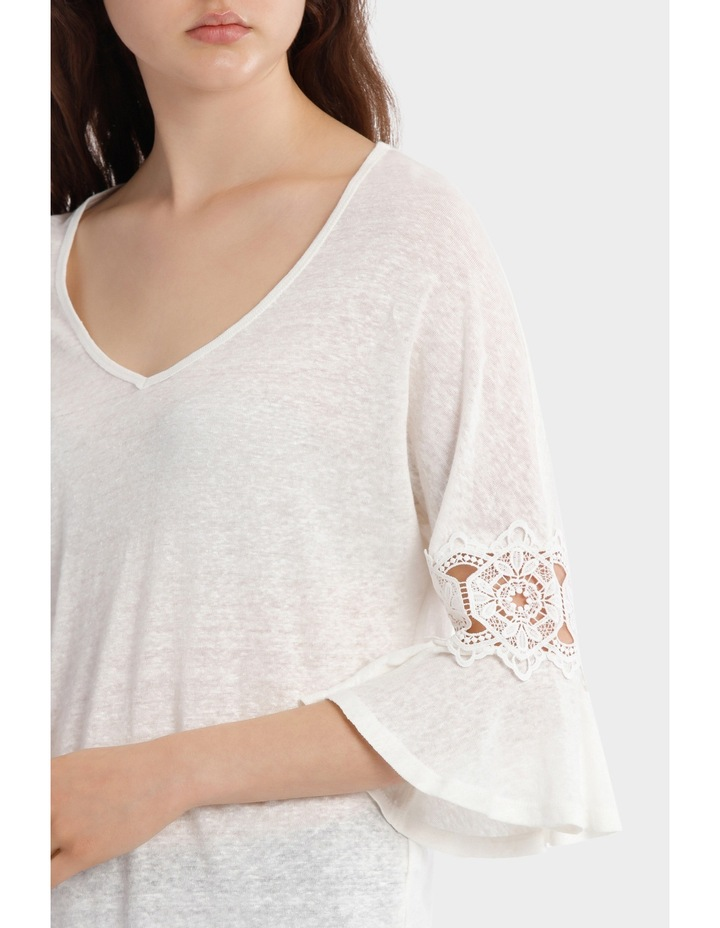Linen V-Neck Tee with Lace image 4