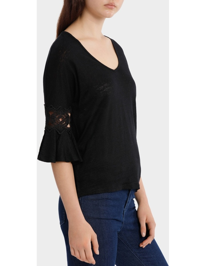 Linen V-Neck Tee with Lace image 2