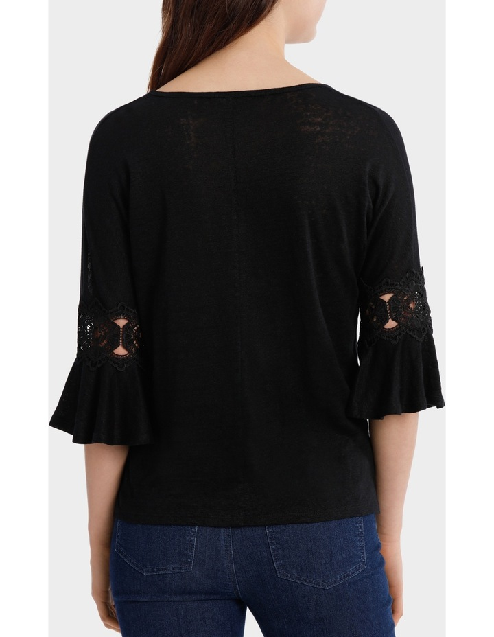 Linen V-Neck Tee with Lace image 3