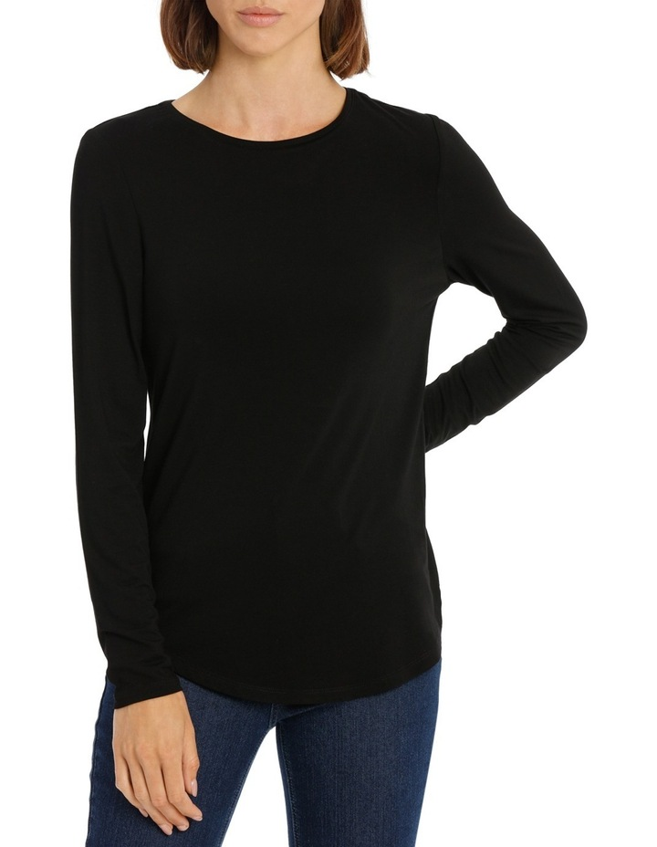 Tee with crewneck rounded hem detail fitted image 1