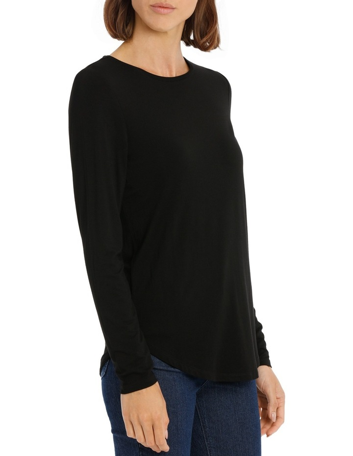 Tee with crewneck rounded hem detail fitted image 2