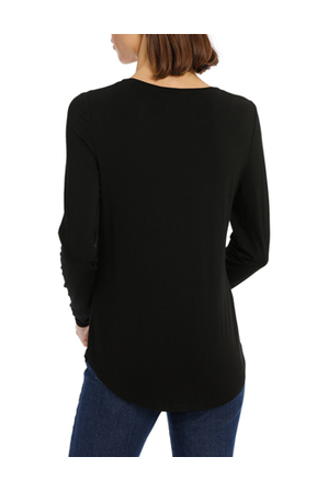 Piper - Tee with crewneck rounded hem detail fitted