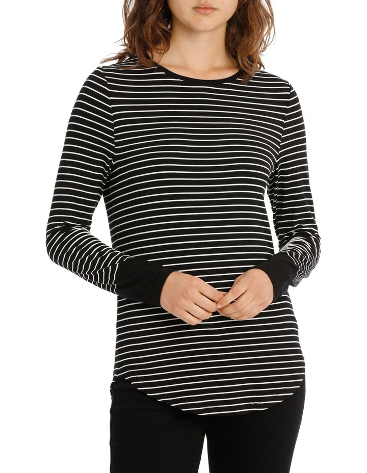 Fitted Tee with Crewneck Rounded Hem Detail image 1