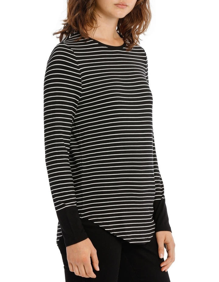Fitted Tee with Crewneck Rounded Hem Detail image 2