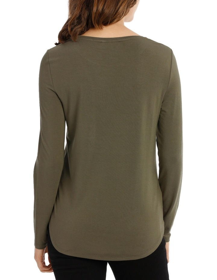 Tee with crewneck rounded hem detail fitted image 3