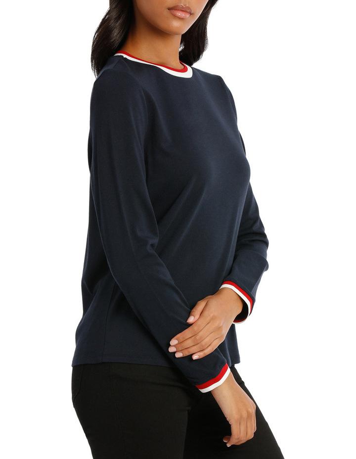 Tee stripe long sleeve tipped cuff image 2