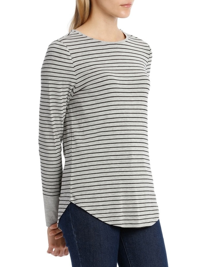 Tee With Crewneck Rounded Hem Detail Fitted PW18003 image 2