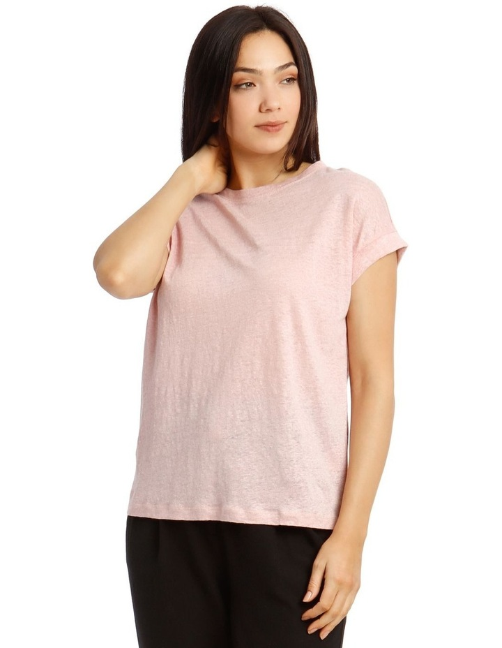 Linen T-Shirt with Cuffed Sleeves image 1