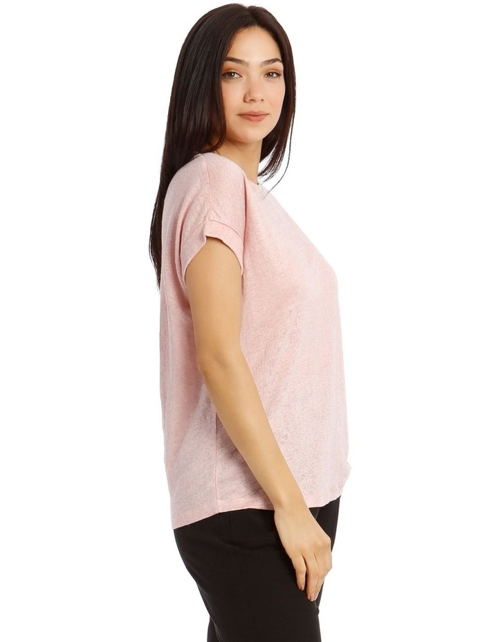 Linen T-Shirt with Cuffed Sleeves image 2