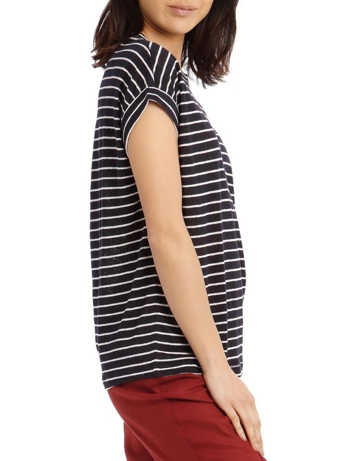 Striped Linen T-Shirt with Cuffed Sleeves - Navy/Ivory image 2