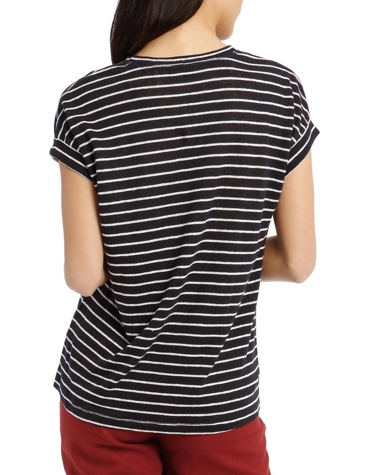 Striped Linen T-Shirt with Cuffed Sleeves - Navy/Ivory image 3