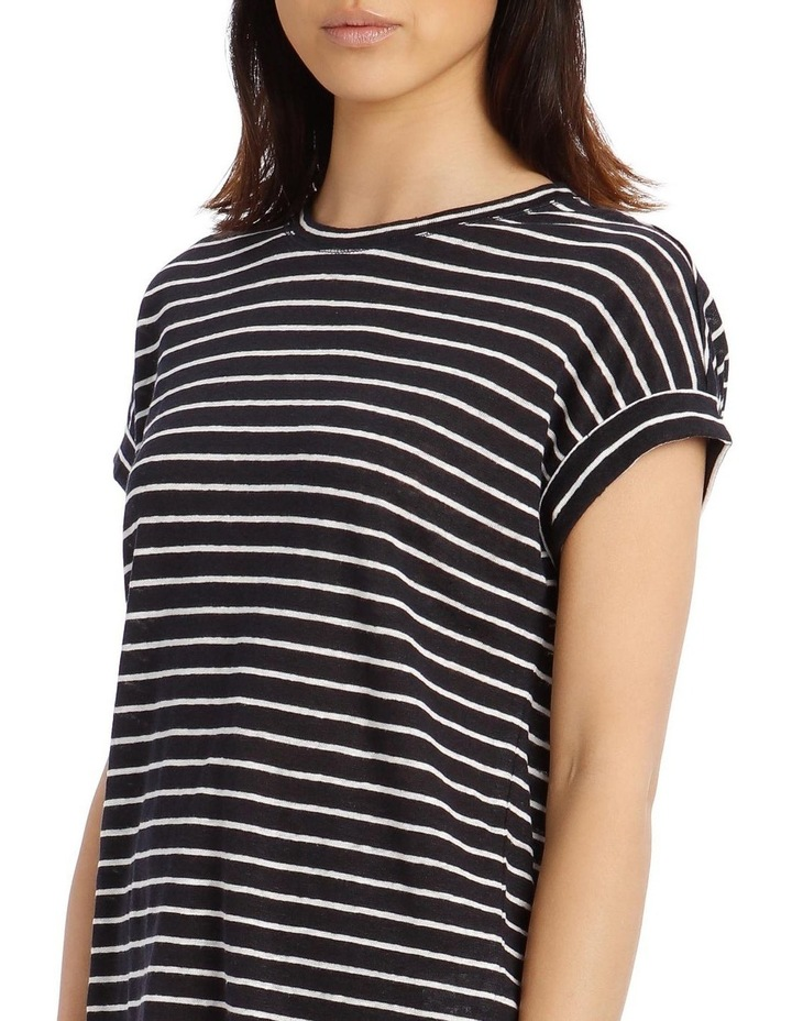 Striped Linen T-Shirt with Cuffed Sleeves - Navy/Ivory image 4