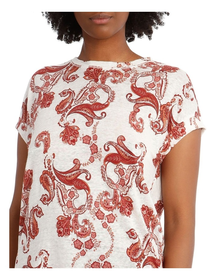 Linen T-Shirt with Cuffed Sleeves image 4