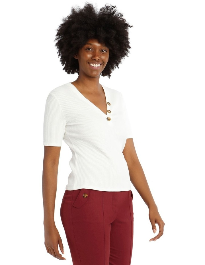 Ribbed T-Shirt with Button Detail image 2