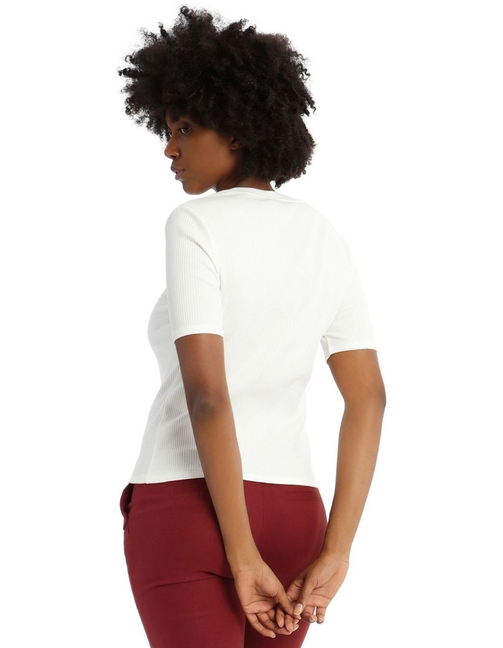 Ribbed T-Shirt with Button Detail image 3