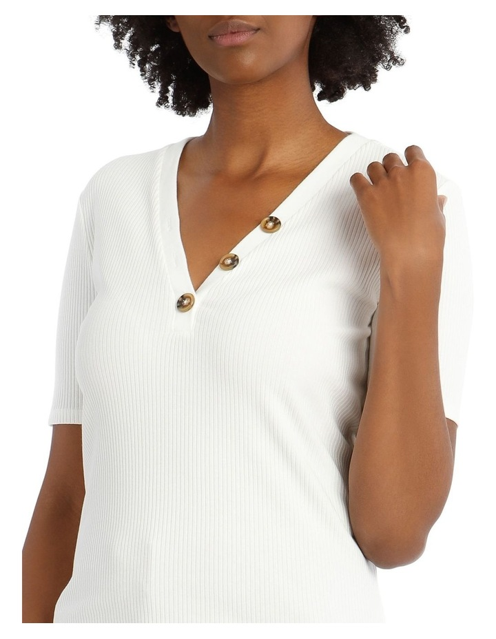 Ribbed T-Shirt with Button Detail image 4
