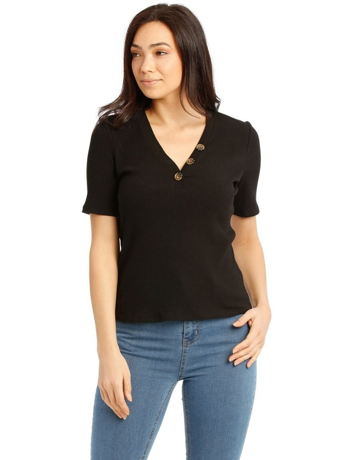 Rib Tee With Button Details image 1