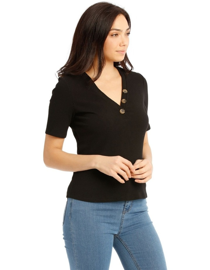 Rib Tee With Button Details image 2