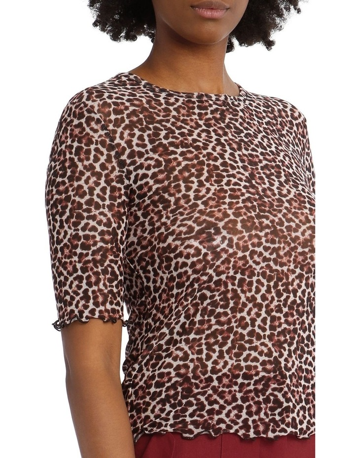 Printed Mesh T-Shirt with Overlocked Cuffs image 4