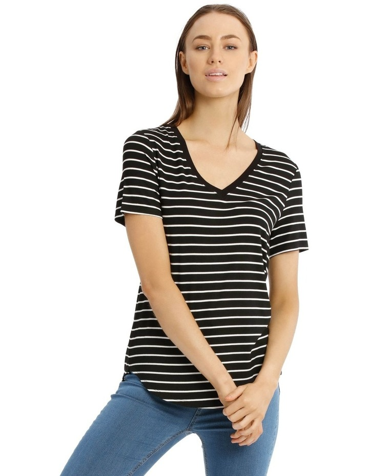 Striped Vee Neck Tee With Curved Hem image 1
