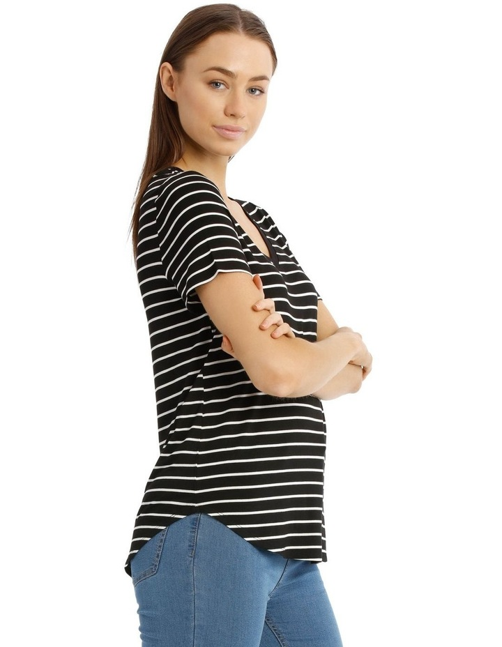 Striped Vee Neck Tee With Curved Hem image 2