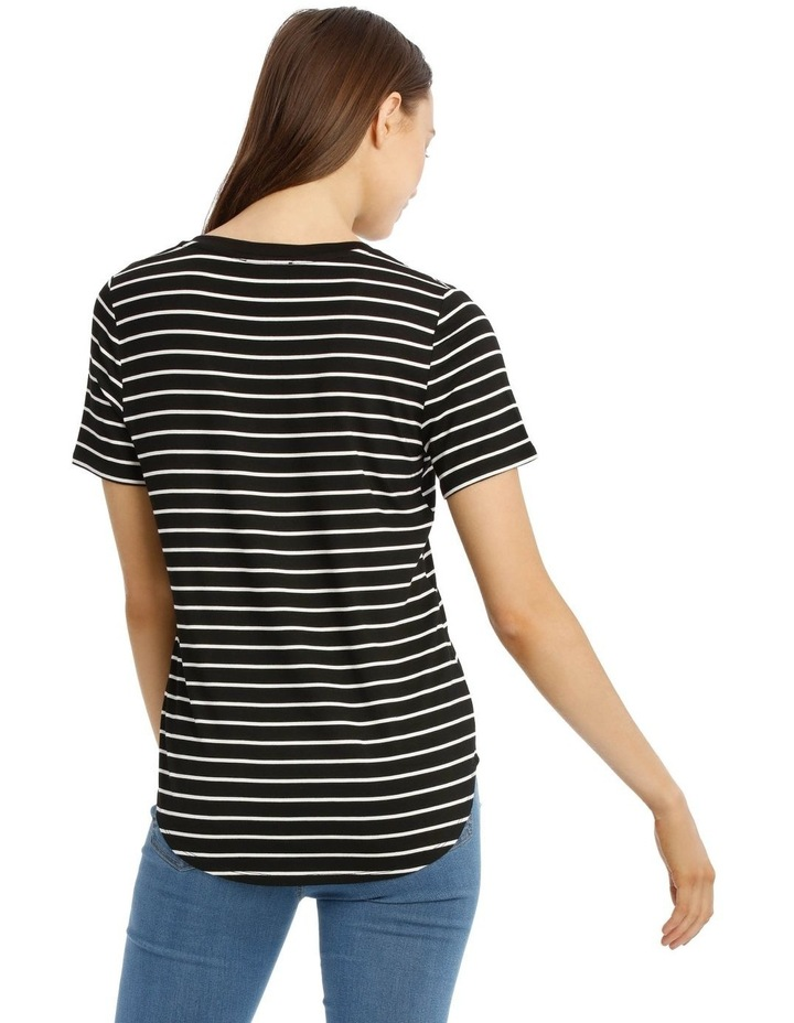 Striped Vee Neck Tee With Curved Hem image 3