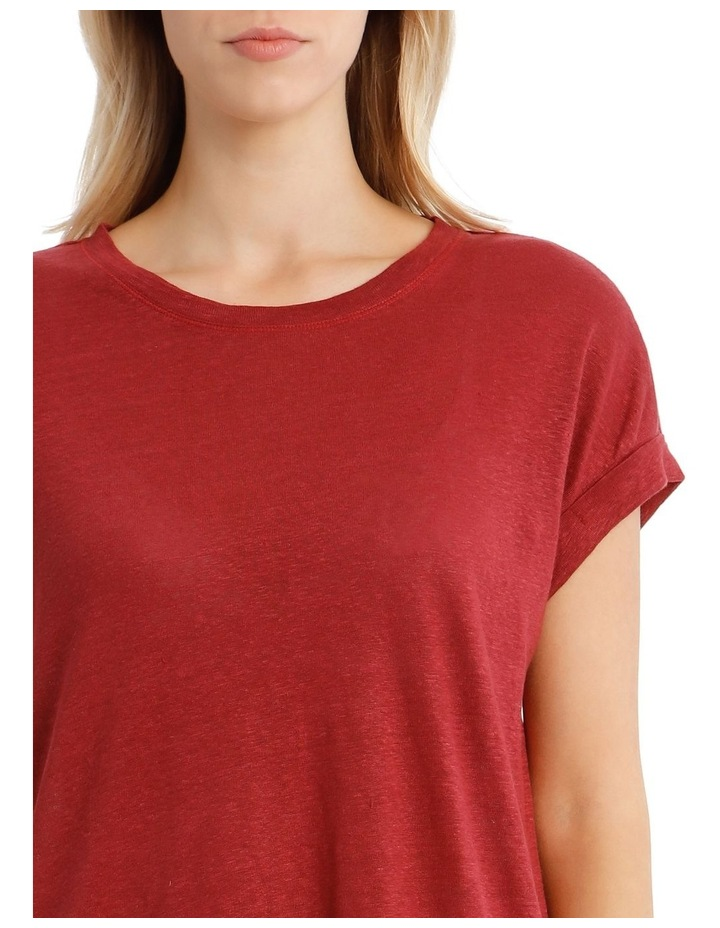 Linen Tee With Scoop Neck And Cuff Sleeve image 4