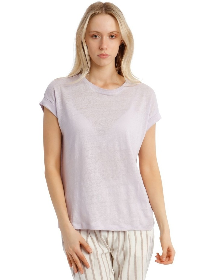 Linen Tee With Scoop Neck And Cuff Sleeve image 1
