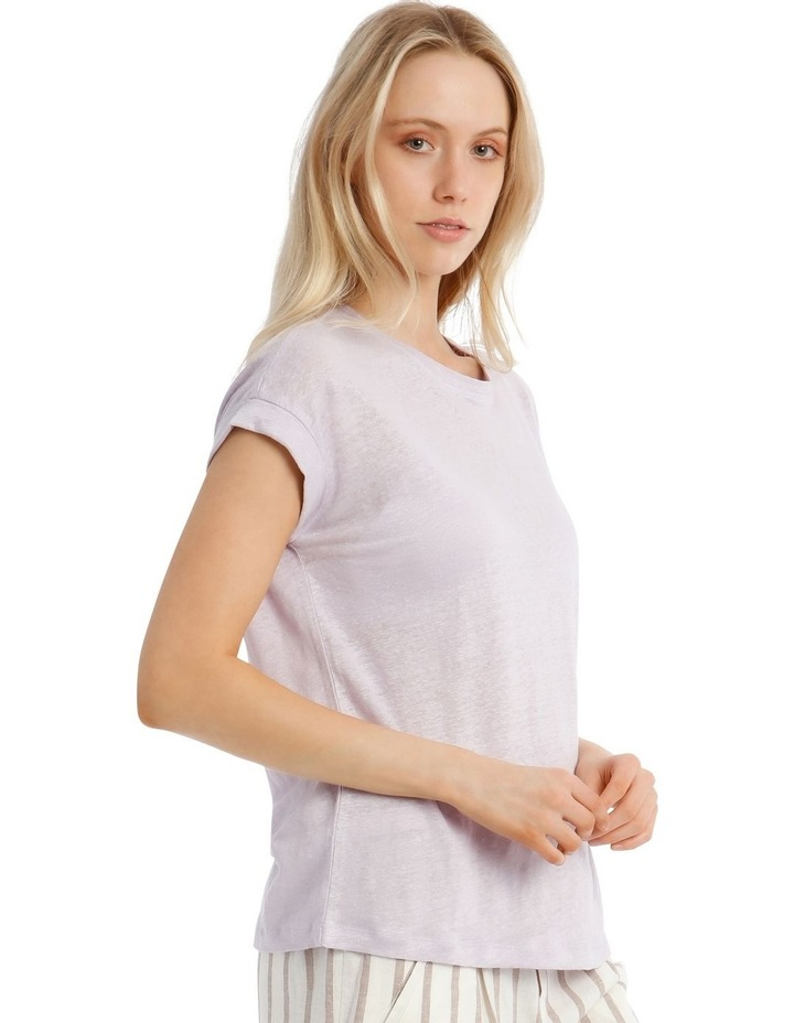 Linen Tee With Scoop Neck And Cuff Sleeve image 2