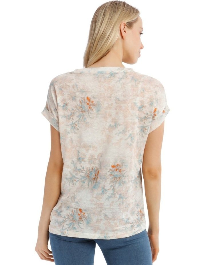 Linen Tee With Scoop Neck And Cuff Sleeve Print image 3