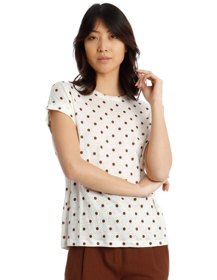 Linen Tee With Scoop Neck And Cuff Sleeve Print image 1